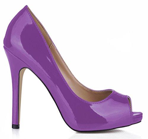 CHMILE CHAU-Escarpins Femmes-Sexy-Fête-Stiletto-Cuir de Vernis Synthétique-Talon Haut-Aiguille-Bout Rond Ouvert Violet Vthmh