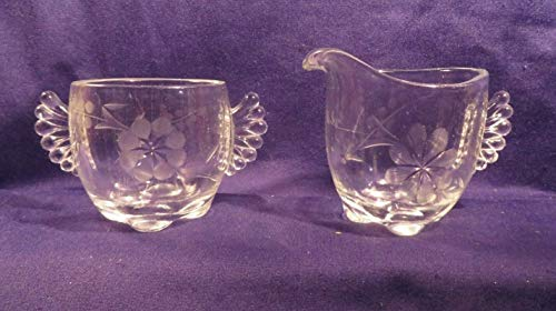 Vintage Glass Creamer & Sugar Set w/Etched Flowers Approx 3