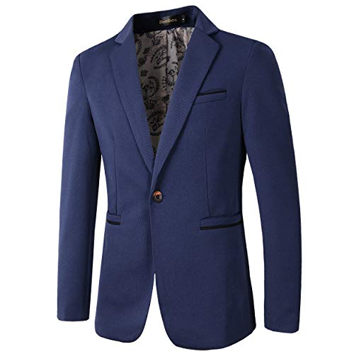 - Men's Slim Fit Casual Premium Blazer Jacket (1416 Navy, L)