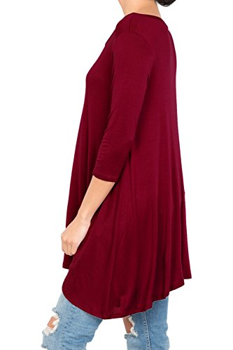 Love In T2411 3/4 Sleeve Round Neck Relaxed A-Line Tunic T Shirt Top Burgundy S by Love In (Image #4)
