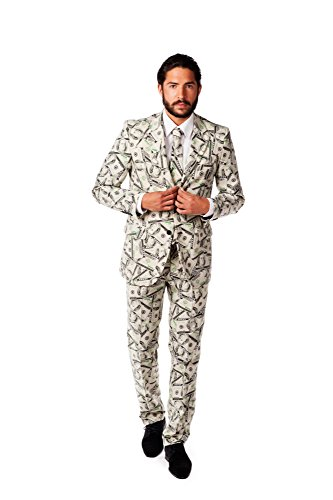 OppoSuits Men's Cashanova Party Costume Suit, Multi, 40 - High Dollar Halloween Costumes