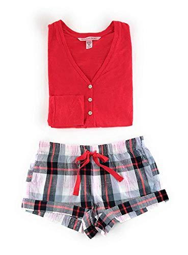 Victoria's Secret Henley Flannel Short Pajama Set X-Small White Plaid/Red