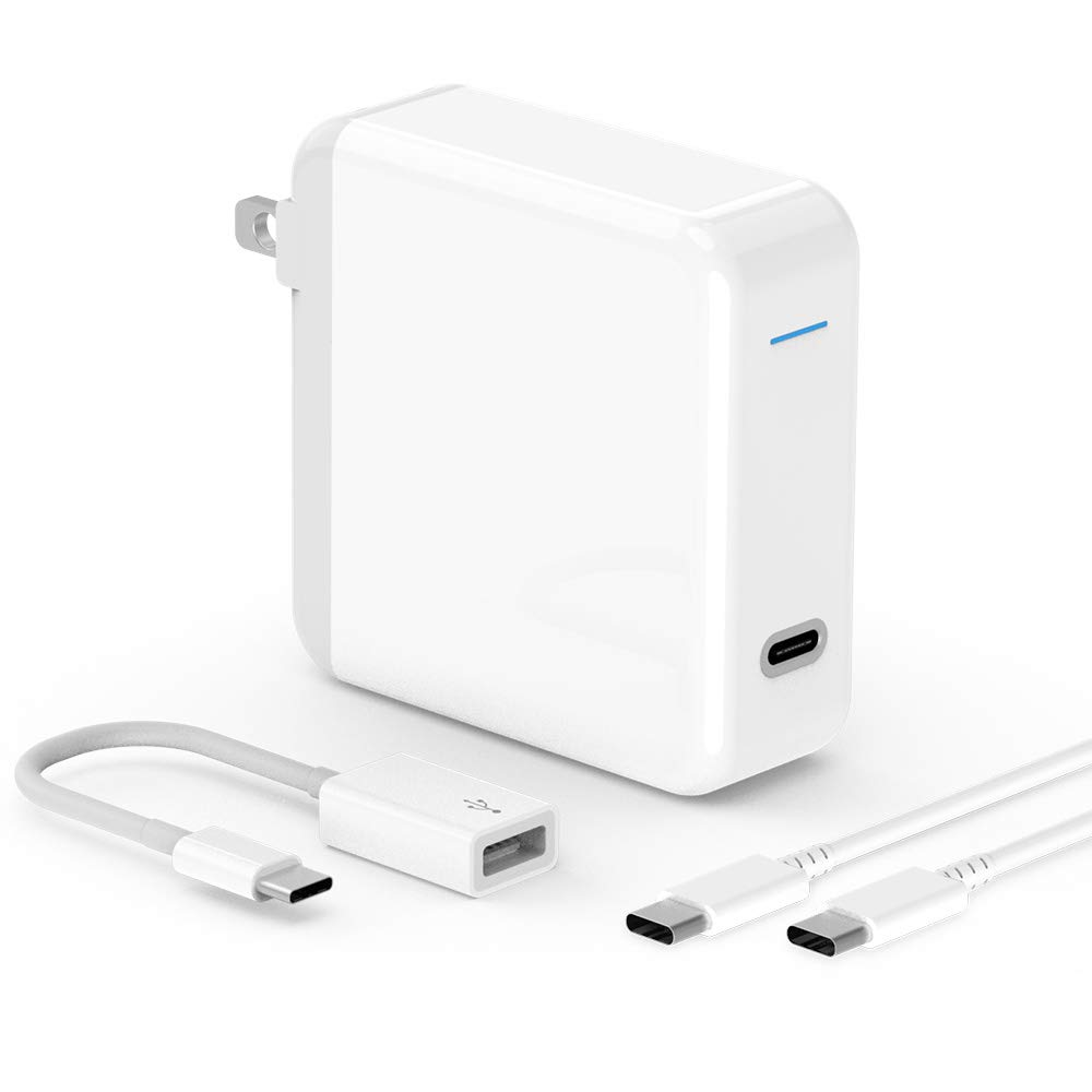 USB C Charger for MacBook Pro 2018, MacBook Air, iPad Pro 12.9, 11, 61W Thunderbolt 3 Port USB C Power Adapter for Lenovo, Any Apple iPhone, with USB Type C to USB 3.0 Adapter and 6.6ft USB C-C Cable