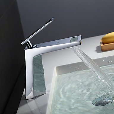 SUNNY KEY-Bathroom Sink Taps@Contemporary Centerset Waterfall with Ceramic Valve Single Handle One Hole Chrome Plated Bathroom Basin Sink Faucet
