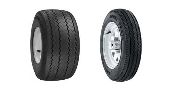 Kenda Loadstar 530-12 Custom Spoke Wheel with White Powder-Coat Pinstripe Finish LRC and Trailer Tire Assembly 12x4//4x4