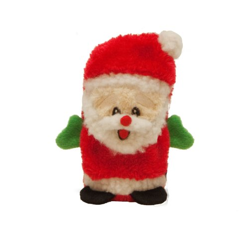 Outward Hound Kyjen  2791 Invincibles Plush Santa Stuffingless Dog Toys Squeaker Toy 1-Squeaker, Small, ()