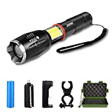 Super Bright Tactical Flashlight Zoomable 6 Modes Waterproof Magnetic Base LED Flashlight with COB Working Light, 18650 Rechargeable Battery & Charger & Bicycle Mount for Camping Hiking