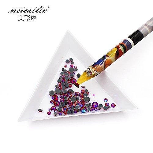 Self Adhesive Resin Rhinestones Picker Pencil Nail Art Gem Crystal Pick up Tool Wax Pen Long Yellow 1 PCs + 5 Triangular plate