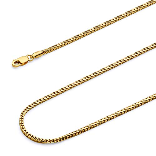 Wellingsale 14k Yellow Gold SOLID 1.5mm Polished Franco Round Chain Necklace - 20