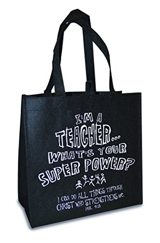 Bible Teachers Verses (Eco Tote-I'm A Teacher-Black w/Navy (Mar))