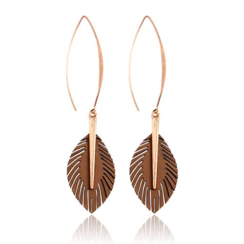 (RIAH FASHION Bohemian Faux Leather Drop Statement Earrings - Boho Statement Dangles Fan Fringe Tassel/Filigree Feather/Half Moon (Leaf Threader - Tan))