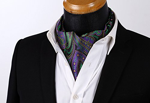 Floral Woven Purple Black Men's Set HISDERN Jacquard Ascot Green 4F5wUAq