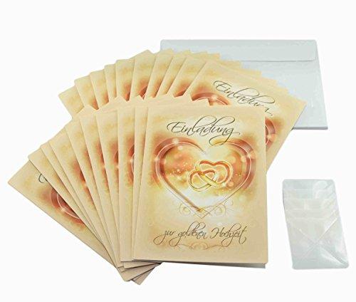 Goldhochzeit Einladungen im Set. 50 Jahre verheiratet und goldene Hochzeit feiern und dazu einladen mit 20 x Einladungskarten, 20 weiße Umschläge und je 20 Fotoecken, ggf. mit Foto selbstgestalten (20 Stück, Einladungskarten)