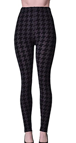 PLUS SIZE Printed Brushed Leggings (Shadow Houndstooth)