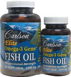 Carlson Labs Elite Omega-3 Fish Oil 1250 mg Gems, 120 gélules