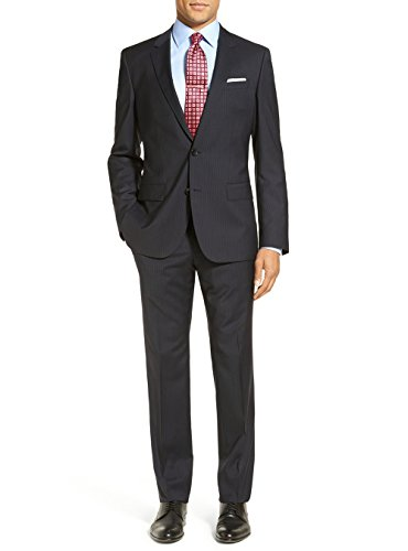 LN LUCIANO NATAZZI 2 Piece Men's Modern Fit Two Button Narrow Stripe Charcoal Suit (46 Long US/56 Long EU)