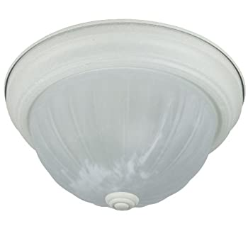 Sunlite 04589-SU DWT11 11-Inch Decorative Ceiling Fixture, Smooth White Finish, Alabaster Glass