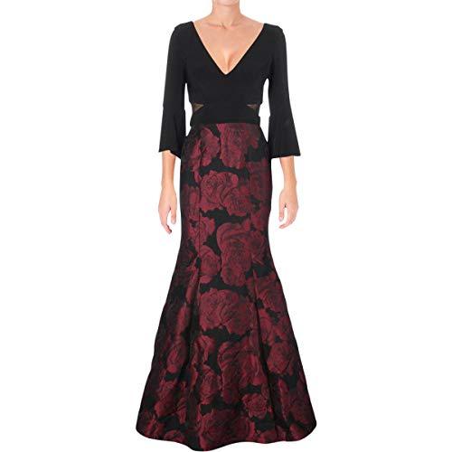 Xscape Women's Long Ity Bellsleeve with Mermaid Brocade Skirt, Black/Berry, 4 (Brocade Sleeve Dress)