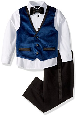 Cotton Velvet Vest (TFW Dresswear Little Boys' Four Piece Vest Set, Black Velvet, 7)