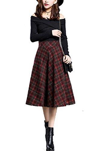 ... Cheerlife Damen Herbst Winter Kariert Rock Knielang Vintage Elegant Wollrock  hohe Taille Faltenröcke Mädchen A- ... e7653572e7