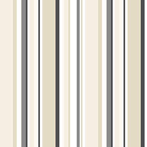 Norwall ST36910 Step Stripe PrePasted Wallpaper, Black, Tan, Taupe, Ebony