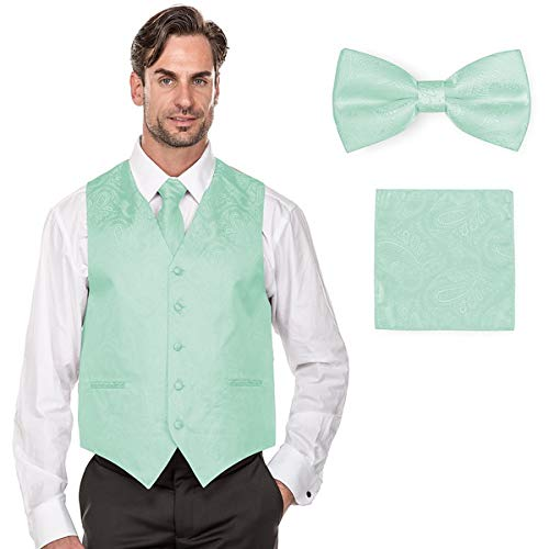Milano Green - MILANO VICHEE Men's Paisley Design Tuxedo Vest(Including Bowtie, Necktie and Handkerchief Set) Color:Mint