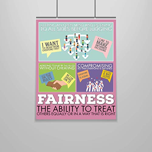 Fairness Poster - Character Building - 16 x 20 - Growth Mindset - Social Emotional - Moral Intelligence - Classroom Decor - School Counselor - Educator - Administrator - Virtues - Values