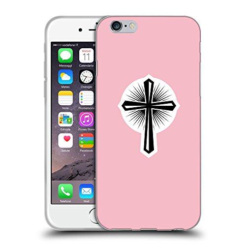 """GoGoMobile Coque de Protection TPU Silicone Case pour // Q09360630 Croix chrétienne 46 Rose // Apple iPhone 6 4.7"""""""