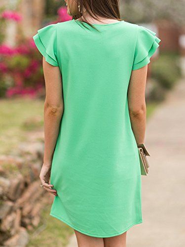 Neck Casual Dresses Dress Ruffle Womens Sleeve Fit Tunic Summer Mini Cap Beautife Green Loose Round Awzxq0nn
