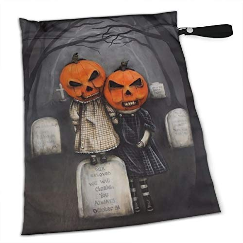 Halloween Pumpkin Headstones Scary Night Wet Dry Bags for Baby Cloth Diapers Breathable Portable Dry Wet Nappy Stroller Bag Sealed Travel Beach Pool Daycare Soiled Baby]()
