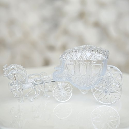 Mini Cinderella Horse & Carriage Coach Set Cake Topper Centerpiece Keepsake - Clear - Wedding Cake Topper Cinderella