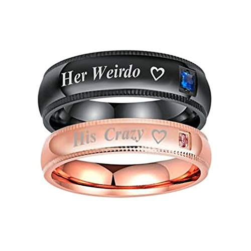 Bishilin 2 PCS Stainless Steel Rings for Couple with Engraving His Crazy Her Weirdo Heart Width 6/4MM Round Engagement Wedding Black Rose Gold Women Size 8 & Men Size 12
