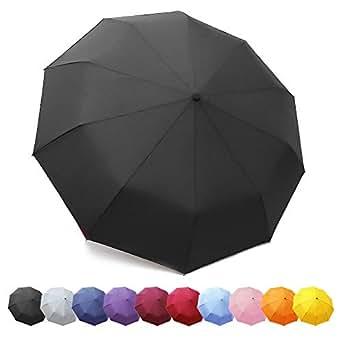 ZOMAKE Compact Travel Umbrella Windproof - Lightweight Folding Umbrella Automatic Open Close (Dark Black)