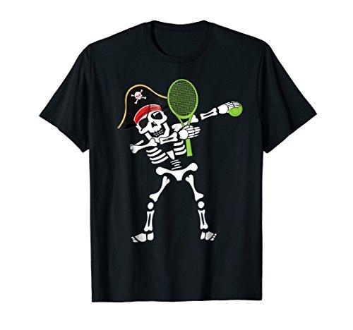 Tennis Dabbing Skeleton Pirate Hat T Shirt Halloween Gifts