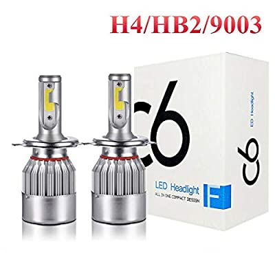Pair COB H4 C6 36W 3800LM LED Headlight Kit Hi/Lo Turbo Light Bulbs 6000K: Automotive