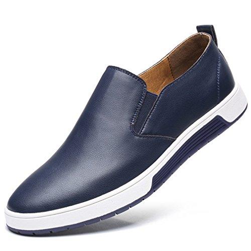 per uomo Mocassini tempo Shoes casual il uomo libero scarpe mocassini in pelle On Casual Slip scarpe da per Blue autunno RqtqF8