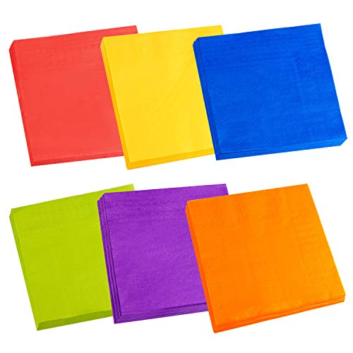Cocktail Napkins, Spnavy 120 Pieces 6.5X6.5 Inch Beverage Luncheon Paper Napkins Colorful 2-Ply Dinner Napkins for Anniversary Decoration Birthday Party Supplies, 6 Colors