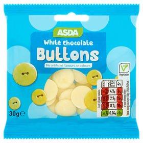 ASDA Giant White Chocolate Buttons Bag 140g