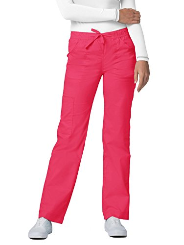 - Adar Pop-Stretch Junior Fit Mid Rise Straight Leg Drawstring Cargo Pants - 3106 - Watermelon - L