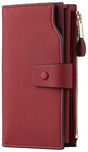 Travelambo Womens RFID Blocking Large Capacity Luxury Waxed Genuine Leather Clutch Wallet Multi Card Organizer (ReNapa Red Deep)