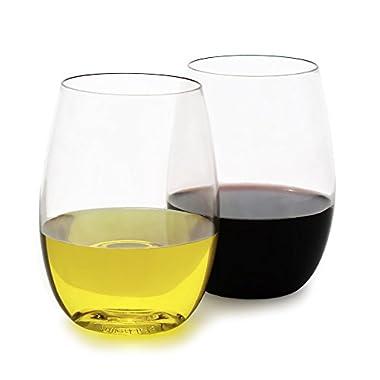 fullerLIFE - Unbreakable Wine Glasses Stemless - Standard 16oz size - set of 4 - Dishwasher Safe- Great for wine, dessert, cocktails - 100% Tritan Clear Plastic