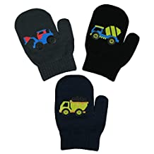 N'Ice Caps Little Boys and Infants Magic Stretch Mittens 3 Pairs Assortment (6-18 Months, Trucks - Navy/Charcoal/Black)