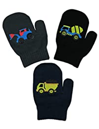 N'Ice Caps Little Boys and Infants Magic Stretch Mittens 3 Pairs Assortment