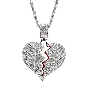 Vosarea Collier en Strass de Luxe Brillant avec Pendentif Coeur brisé et chaîne Solide pour Couple (Argent)