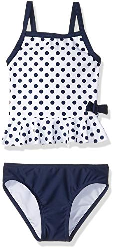 Kiko & Max Toddler Girls' Tankini Bathing Swim Suit, White Navy Dot, 4T