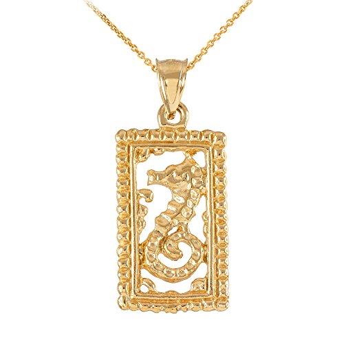 Fine 14k Yellow Gold Beaded-Style Rectangular Frame Seahorse Pendant Necklace, 22