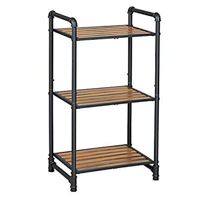 VASAGLE Bathroom Shelf, 3-Tier DIY Storage Rack, Industrial Style Extendable Plant Stand with Adjustable Shelf, for Living Room, Bathroom, Balcony, Kitchen, Rustic Look UBSC23BX - SHOW IT OFF: Invite this storage rack with rustic charm and urban design to your home to spice up your space while displaying your favorite plants or books; it's so attractive that you'd hate to hide it in a closet, even though it fits perfectly inside HAVE IT YOUR WAY: With a customizable design, you can extend it infinitely with similar shelves - at least until it reaches the limits of your walls; also, the shelf height is adjustable so your plants or decorations can all have a home here, big or small A STABLE LIFE: The robust resin slat combined with steel water pipe in industrial style offers industrial-like strength; the 55 lb load capacity ensures a stable life for your secret garden on this plant stand - shelves-cabinets, bathroom-fixtures-hardware, bathroom - 41D4bxCCACL. SS400  -