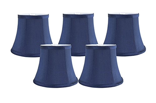 Meriville Set of 5 Blue Faux Silk Clip On Chandelier Lamp Shades, 4-inch by 6-inch by 5-inch