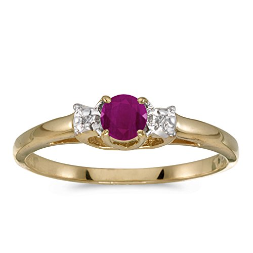 10k Yellow Gold Round Ruby And Diamond Ring (Size 4.5)
