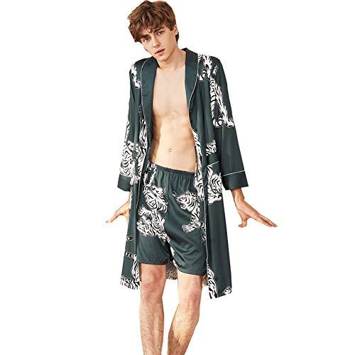 Men's Satin Robe with Shorts Nightgown Soft Printed Bathrobes Pajamas Sleepwear (Satin Men Robe)